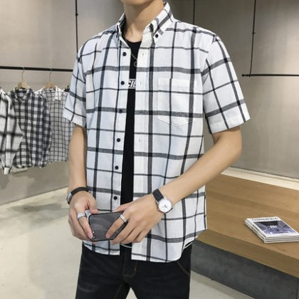 Men Clothing New Short-sleeved Loose Plaid Outerwear Shirt