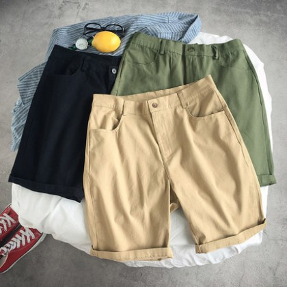 Men Clothing Casual Straight Five Points Casual Pants