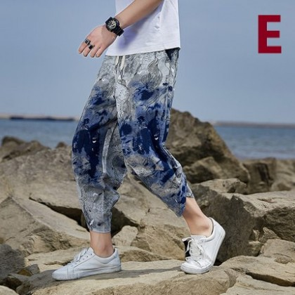 Men Clothing Loose Cotton Cropped Trouser Beach Pants