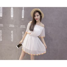 Women Chiffon Pure White Off-Shoulder Dress