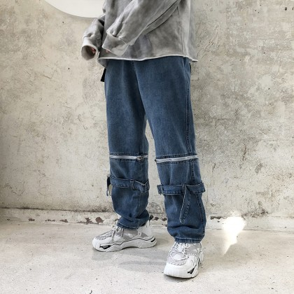 Men Clothing Loose Straight Casual Denim Pants