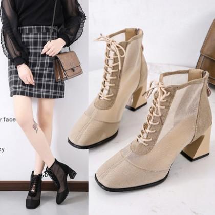 Women Mesh Hollowed High-heeled Shoes