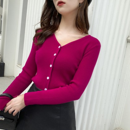 Women Clothing V-neck Slim Outer Knitted Cardigan