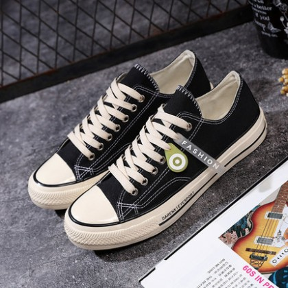 Men Student Trend Lace-up Canvas Solid Color Shoes