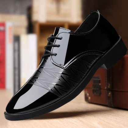 Men Breathable Lace-up Wear-resistant Casual Leather Shoes