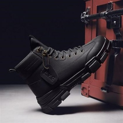Men Flat Heel Leather Lace-up Working Boots