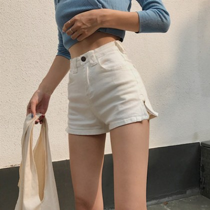 Women Clothing Retro High Waist Slim Elastic A-line Denim Shorts