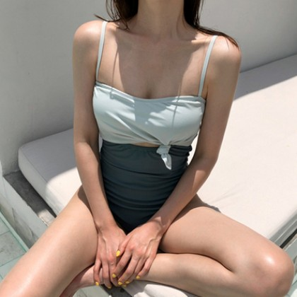 Women Clothing Fake Two-piece Sling Triangle One-piece Swimsuit