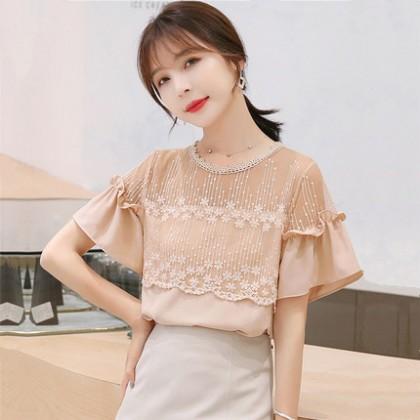 Women Clothing Round Neck Lace Stitched Chiffon Shirt