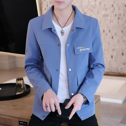 Men Clothing Plain Solid Color Working Jacket