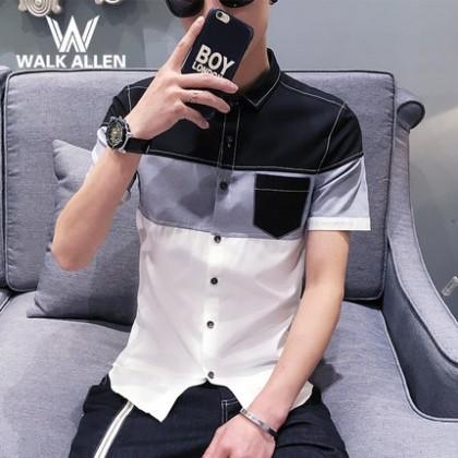 Men Mixed Colour Pocket Casual Short Sleeve Shirt