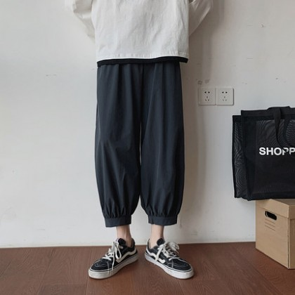 Men Clothing Nine Points Loose Straight Casual Summer Pants