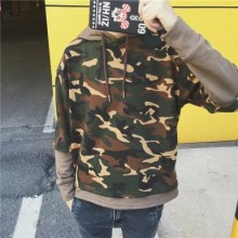 Men Japanese Camouflage Long Sleeve Hooded T
