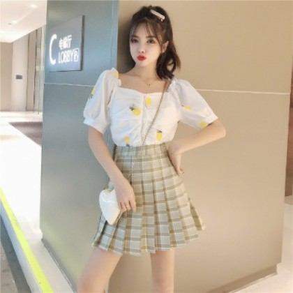 Women Clothing Square Collar Bubble Sleeve Shirt + Waist Pleated Skirt Two Piece Set