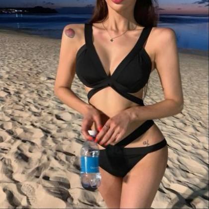 Women Clothing Sexy Bikini Pure Black Beautiful Back Swimsuit