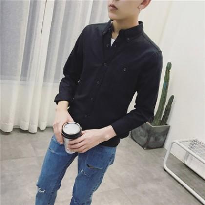 Men Clothing Loose Cotton Long-sleeved Causal Formal Shirt