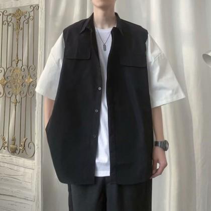 Men Clothing Short-sleeved Short-sleeved Fake Two-piece Shirt