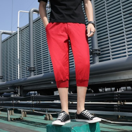 Men Clothing New Cropped Loose Fashion Casual Beach Pants