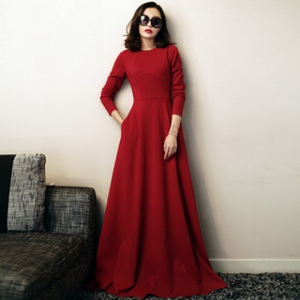 Women Clothing Extra Long Solid Color Slim Long Sleeve Dress