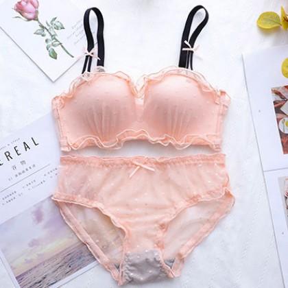Women Clothing Sexy Lace Tube Bra No Steel Ring Underwear Set