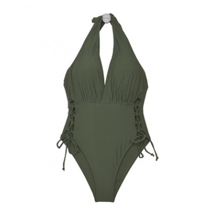Women Clothing Sexy Deep V Slim Solid Color Conservative One-piece Bikini