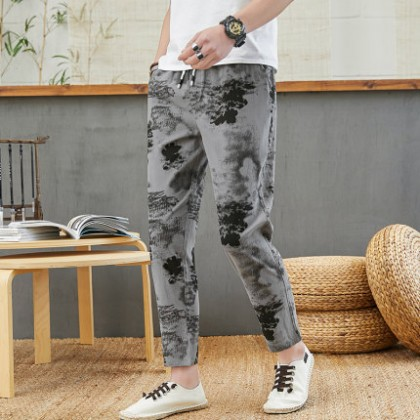 Men Clothing Casual Cotton Loose Trousers