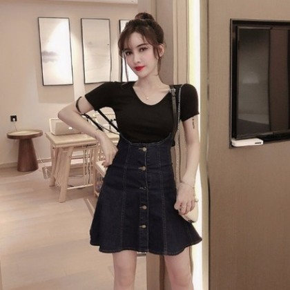 Women Clothing Retro Fashion T-shirt Strap Denim Short Skirt Two-piece Suit