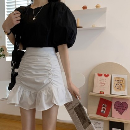 Women Clothing Summer High Waist A-line Fishtail Skirt