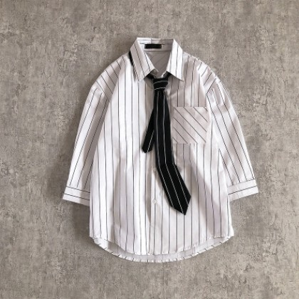 Men Clothing Loose Seven-point Sleeve Vertical Striped Shirt and Tie