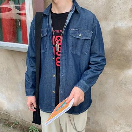 Men Clothing Retro Casual Long-sleeved Denim Jacket