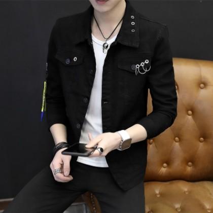 Men Clothing New Fashion Casual Long-sleeved Denim Jacket