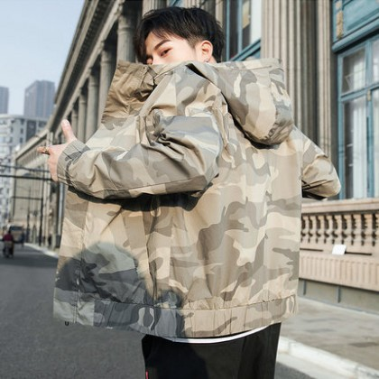Men Clothing Casual Long-sleeved Camouflage Sunscreen Jacket