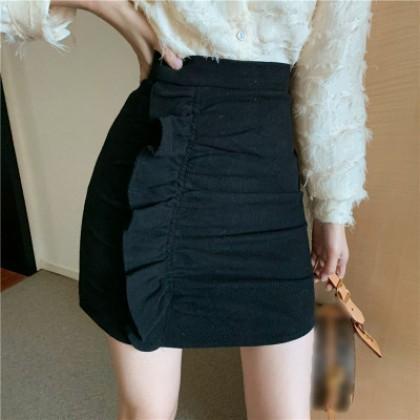 Women Clothing High waist solid color Ruffled Slim Short Skirt