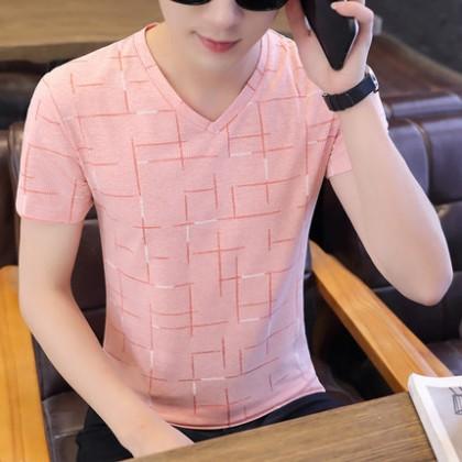 Men Clothing New V-neck Short-sleeved Casual Patterned T-shirt