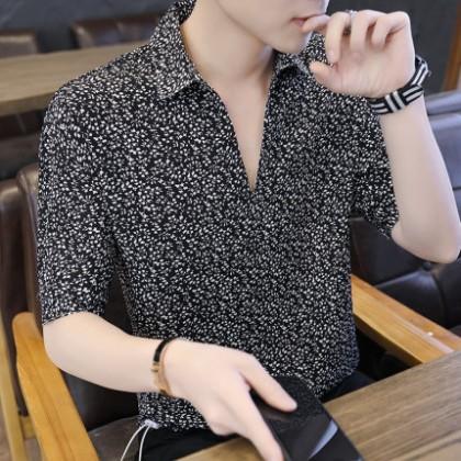 Men Clothing Short-sleeved Trendy V-neck Shirt