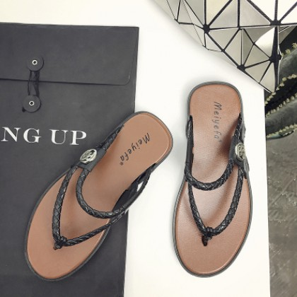 Men Simple Braided Flip-Flop Sandals
