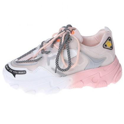 Women Lace-up Color Gradient Sports Big Shoes