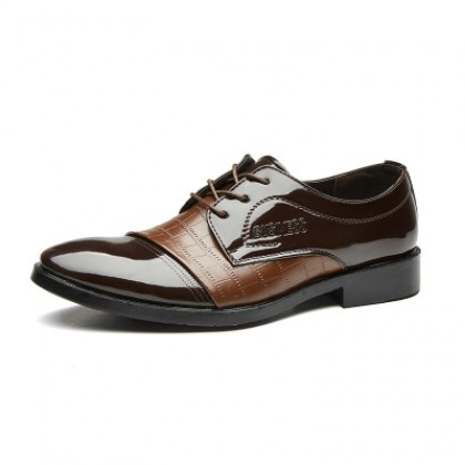 Men Crocodile Pattern Brown Large Leather Shoes