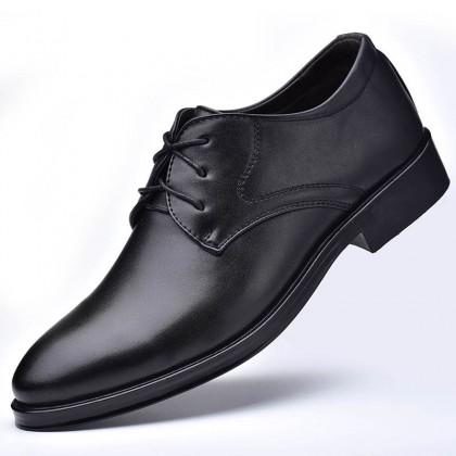 Men Lace-up Low-top Casual Leather Shoes