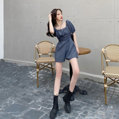 Women High-waist Pleated Wide-leg Shorts Bubble Sleeves Jumpsuit