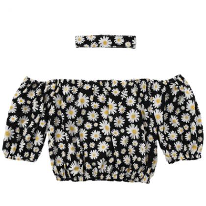Women Off-shoulder Little Daisy Print Top