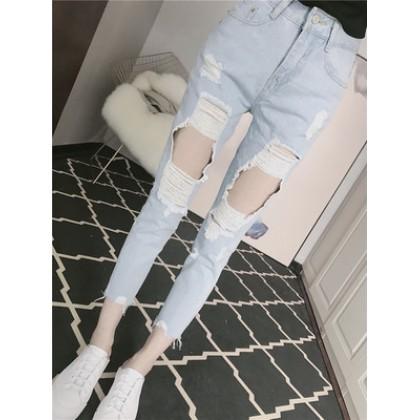 Women High Waist Straight Slim Ripped Nine Points Jeans