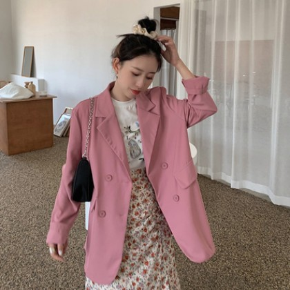 Women Summer Thin Blazer Loose Mid-length Casual Suit Jacket