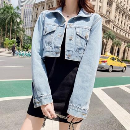 Women Summer Retro Ultra Short Denim Jacket
