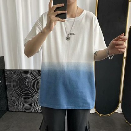 Men Clothing Five-point Short-sleeved Gradient T-shirt