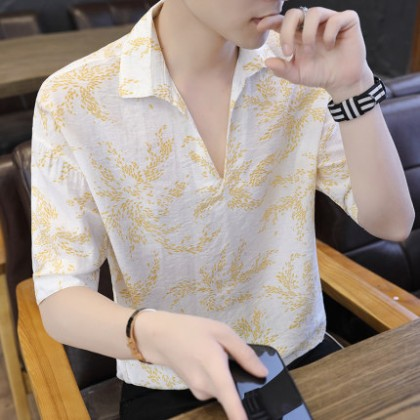 Men Clothing Short-sleeved Casual Patterned Shirt