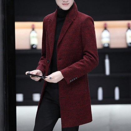 Men Clothing Long-sleeved Mid-length Coat Jacket