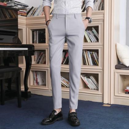 Men Clothing Seamless Trousers Casual Slim Pants