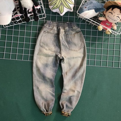 Men Clothing Nine Points Summer Ripped Denim Harem Pants