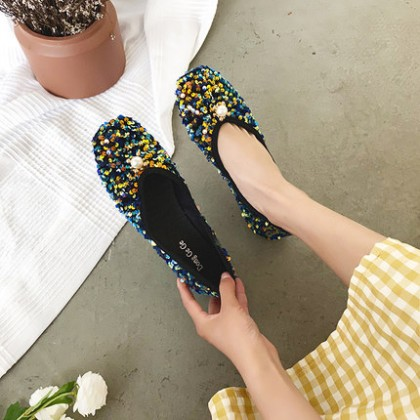 Women Summer Pearl Sequins Shallow Mouth Flat Shoes